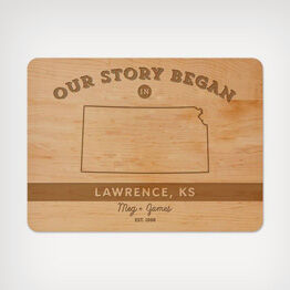 """Our story"" wood cutting board"