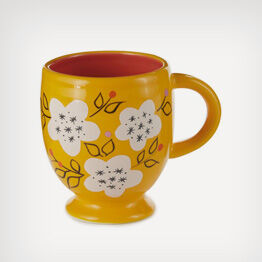 Yellow accented with white flowers ceramic mug