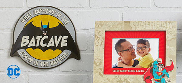 Batcave wall art and Superman picture frame