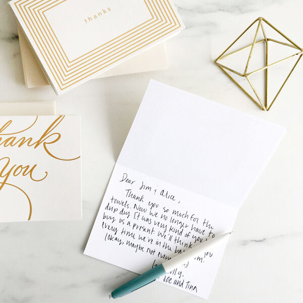 Let our writers coach you on what to write in a wedding thank-you note.