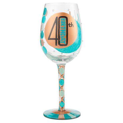 LolitaR 40th Birthday Handpainted Wine Glass 15 Oz