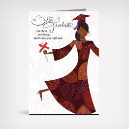 Excellence in sisterhood Mahogany graduation greeting card