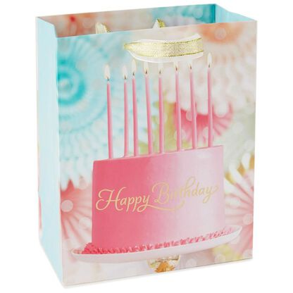 Pink Birthday Cake Photo Medium Gift Bag 95