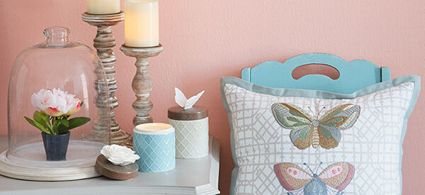 Heritage Collection pillows and candles