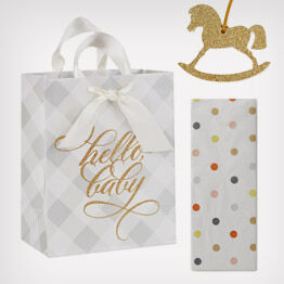 """Hello baby"" gift bag, tissue paper and rockinghorse trim"