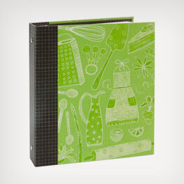 Whimsical green recipe organizer book