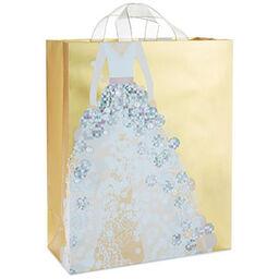 gold metallic wedding dress x large gift bag