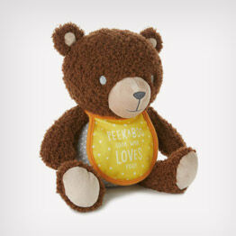 Stuffed Teddy Bear with bib photo holder