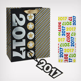 """2017"" gift bag, tissue paper and trim"