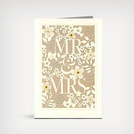 """""""Mr. & Mrs."""" laser-cut wedding card"""
