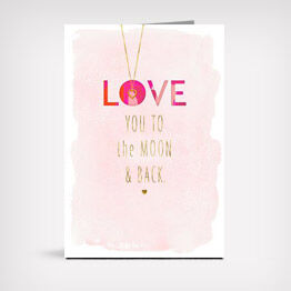 """Love"" card with necklace"