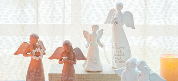 Terra-cotta ceramic angel figurines
