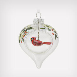 Winter cardinal and holly glass ornament