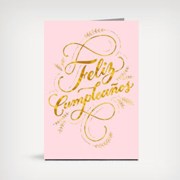 Feliz Cumpleaños gold script Spanish-language birthday card