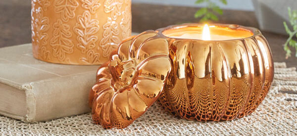Ceramic embossed autumn leave and coppered pumpkin harvest candles