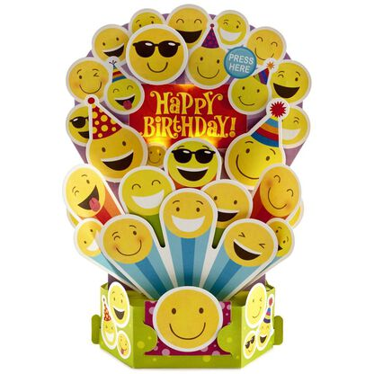 Happy Emojis Pop Up Musical Birthday Card With Light Cards