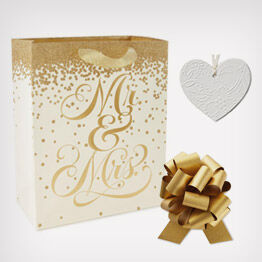 """Mr. & Mrs."" gold and white gift bag and trim"