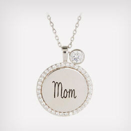 """Engraved """"Mom"""" sterling silver necklace"""