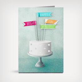 Celebratory cake birthday card