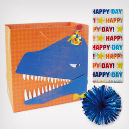 Dinosaur gift bag, tissue paper and trim