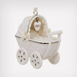 Porcelain baby carriage ornament