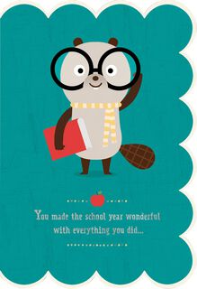 Bespectacled Beaver Teacher Appreciation Card From Child,