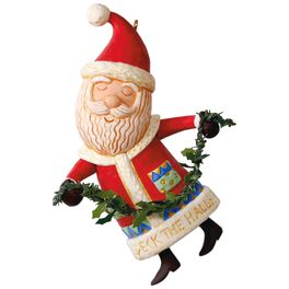 Boughs of Holly Santa Ornament, , large