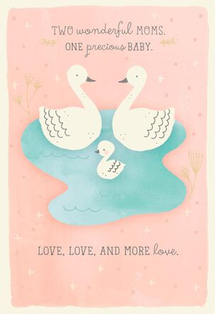 Moms-to-Be Swans Baby Shower Card