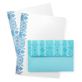 Turquoise Foil Scroll Stationery & Envelopes, 20 Sheets, , large