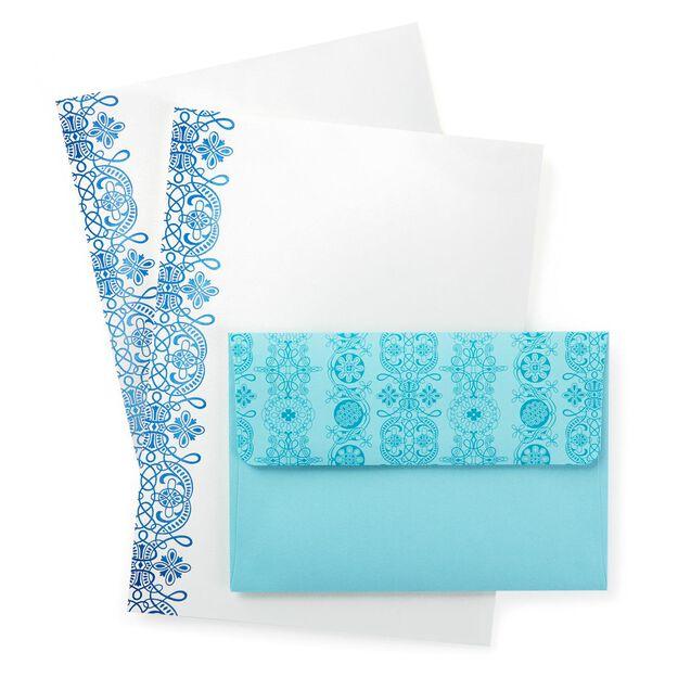 turquoise foil scroll stationery envelopes 20 sheets designed