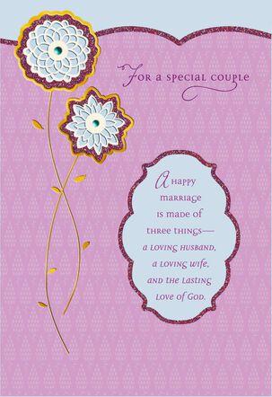 Glitter Happy Marriage Religious Anniversary Card