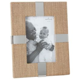 Burlap and Metal 4x6 Picture Frame, , large