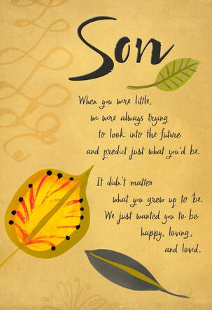 All Our Dreams Came True Leaves Birthday Card for Son