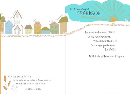 You Are a Blessing First Holy Communion Card for Grandson,