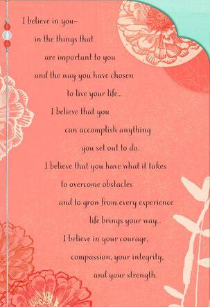 I Believe in You Orange Floral Encouragement Card