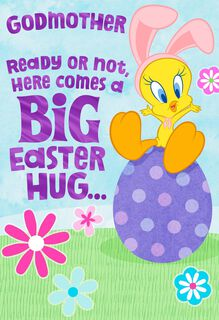 Hugs from Tweety Easter Card for Godmother,