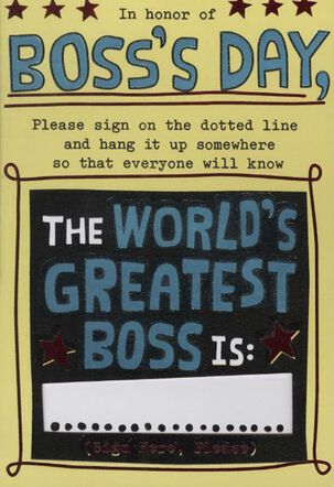 Sign on the Dotted Line Boss's Day Card