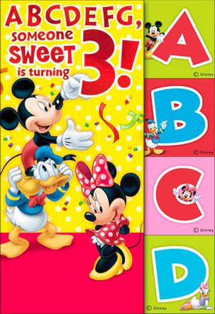 Mickey Mouse 3rd Birthday Card With Flash Cards