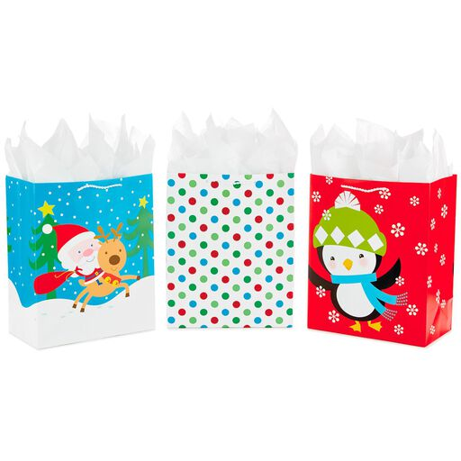 1a4e7bd44e3c Christmas Cheer 3-Pack Large Gift Bags With Tissue Paper