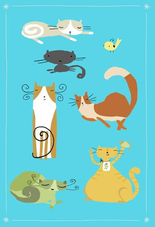 Whimsical Cats and Bird on Blue Blank Card