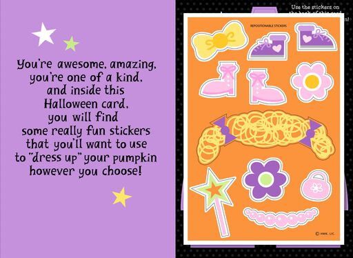 Dress Up Your Pumpkin Halloween Card With Stickers for Granddaughter,