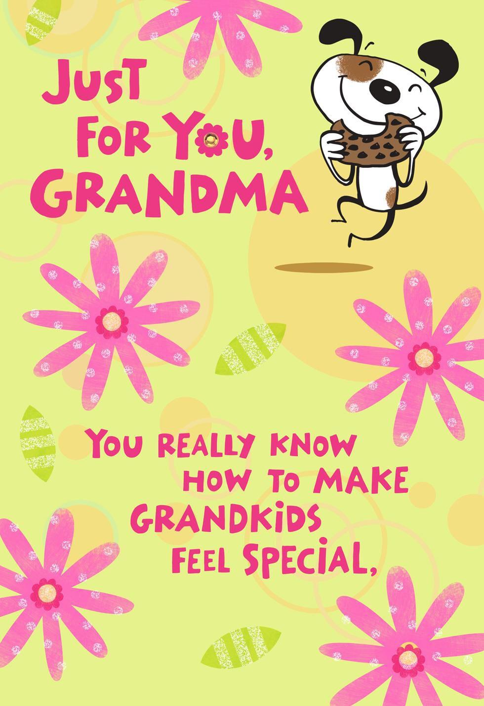 Just For You Cartoon Dog Birthday Card Grandma Greeting Cards