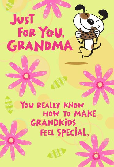 Just For You Cartoon Dog Birthday Card For Grandma Greeting Cards