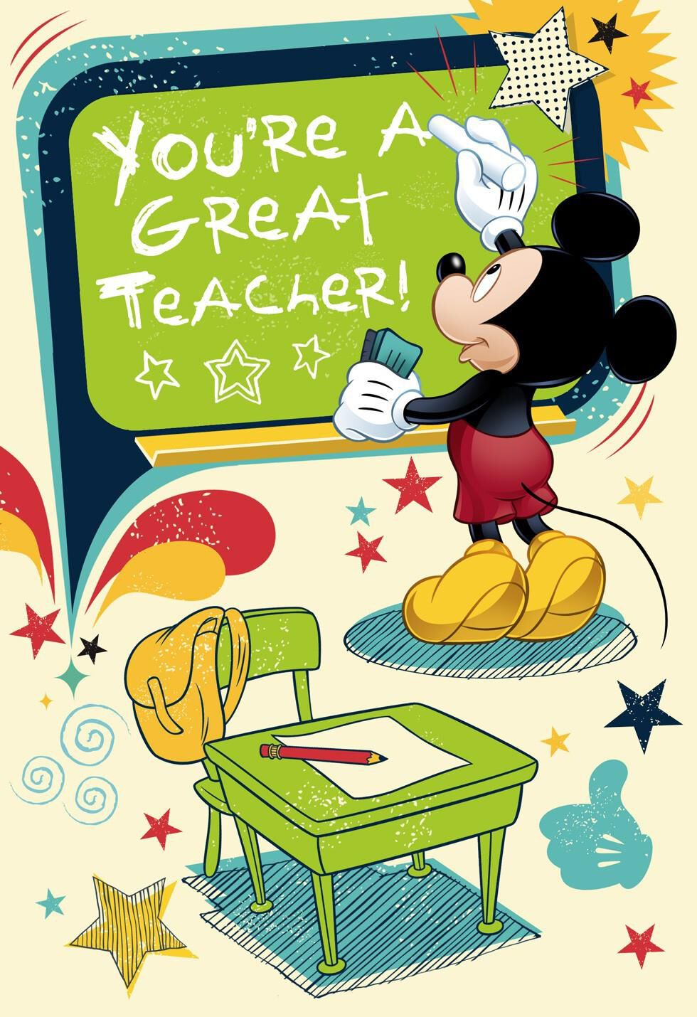 you u0026 39 re a great teacher mickey mouse greeting card
