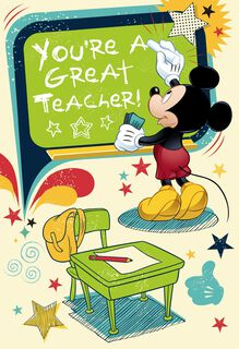 You're a Great Teacher Mickey Mouse Greeting Card,