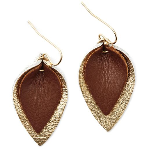 Gold and Bronze Leather Double-Teardrop Earrings,