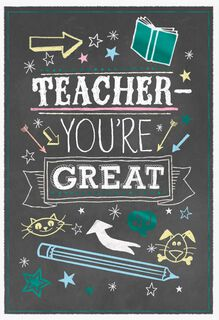 Chalkboard Doodles Thank You Card for Teacher,