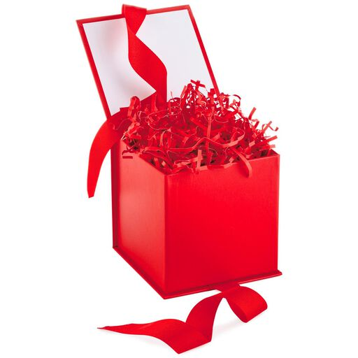 ... Red Small Gift Box With Shredded Paper Filler,