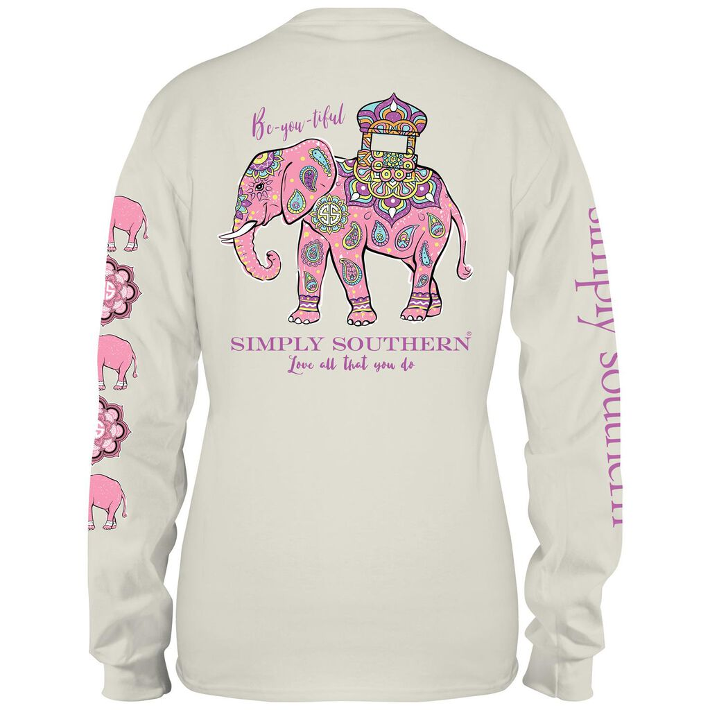 169180b7e28e4b Simply Southern Women s Mandala Elephant Long Sleeve T-Shirt