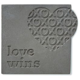 Love Wins Stamped Concrete Sign, 6x6, , large